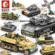Строительные блоки 1061 шт. Военная серия Вертолет ww2 фигурки оружие пистолет солдат Танк Развивающие игрушки для детей подарок
