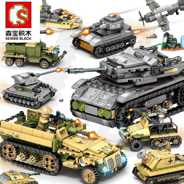Sembo Building Blocks 1061pcs Military Series Helicopter ww2 Figures Weapon Gun Soldiers Tank Educational Toys for Children Gift