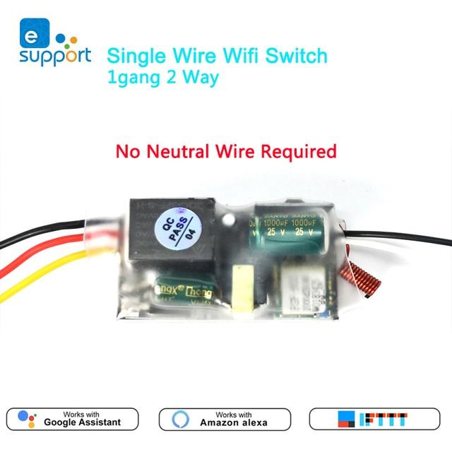 EWelink אחת חוט WIFI מודול 1 כנופיית 2 דרך RF433Mhz לא ניטרלי חוט נדרש לעבוד עם Alexa ו google בית 220 240V