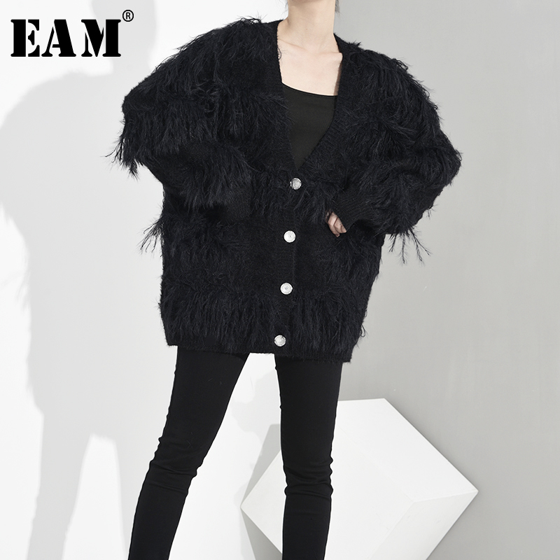[EAM] Button Big Size Knitting Cardigan Sweater Loose Fit V-Neck Long Sleeve Women New Fashion Tide Autumn Winter 2019 1H8840