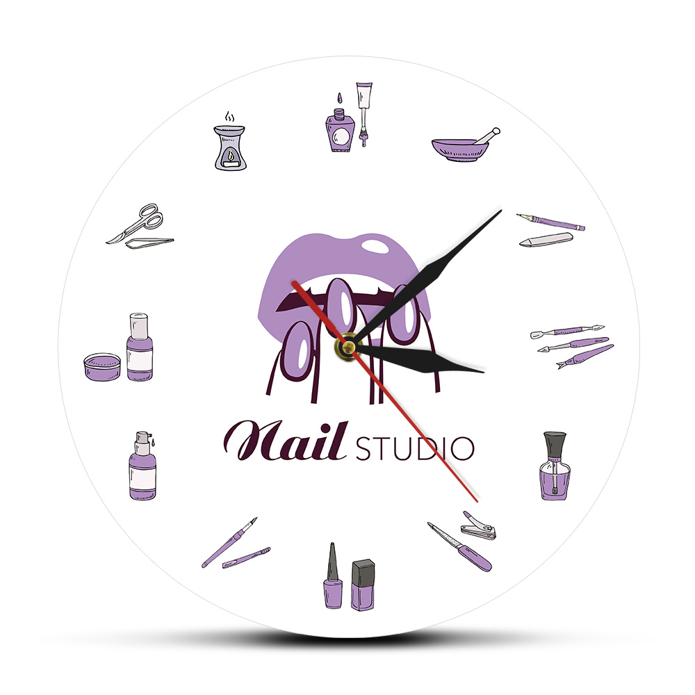 Salon-Tools Wall-Clock Artwork Manicure-Name Nail Spa-Studio Custom Beauty-Shop Silent title=