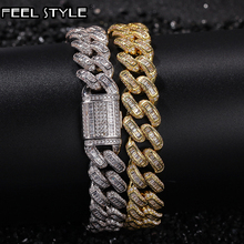 Bling Iced Out Square Zircon Cuban Full AAA Paved Rhinestone Mens Bracelet Gold Copper Bracelets For Men Hip Hop Jewelry