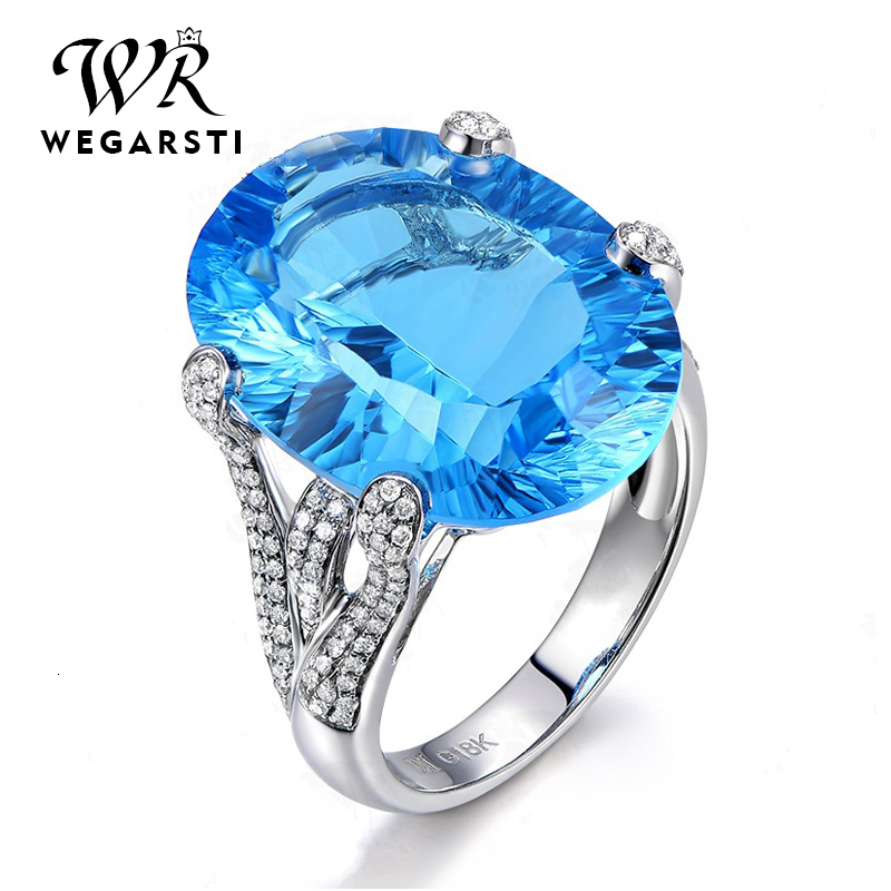WEGARASTI Silver 925 Jewelry Ring Trendy Sapphire Party Classic 925 Sterling Silver Rings Jewelry Woman Engagement Gift