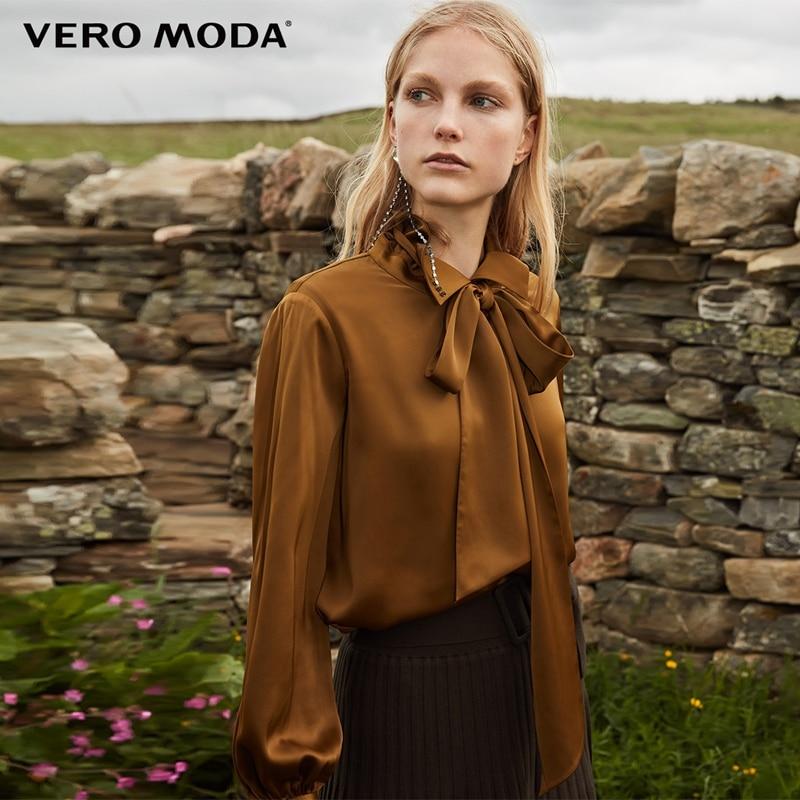 Vero Moda 2019 New Arrivals Decorative Ribbon Drapery Pure Chiffon Shirt | 318305528