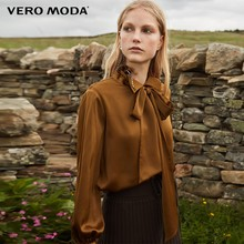Vero Moda 2019 New Arrivals Decoratieve Lint Draperie Pure Chiffon Overhemd | 318305528(China)