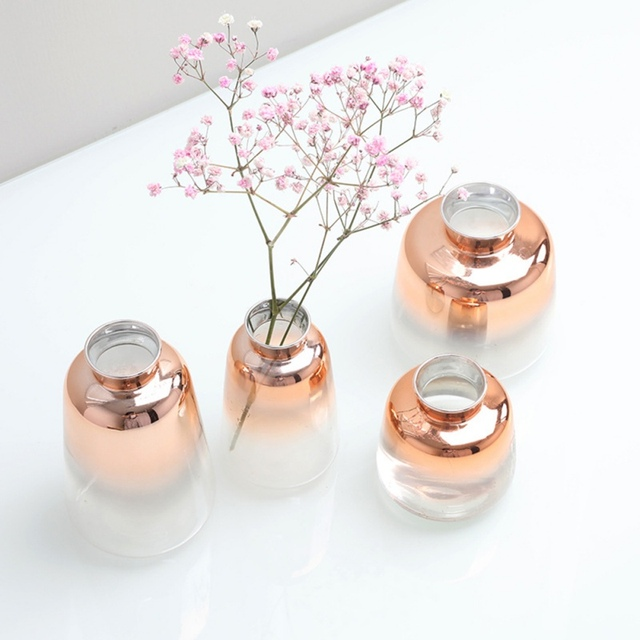 Nordic Glass Vase Electroplated Gold Vase Glass Flower Vases For Home Decor Dried Flower Bottle Bar Restaurant Decoration 2