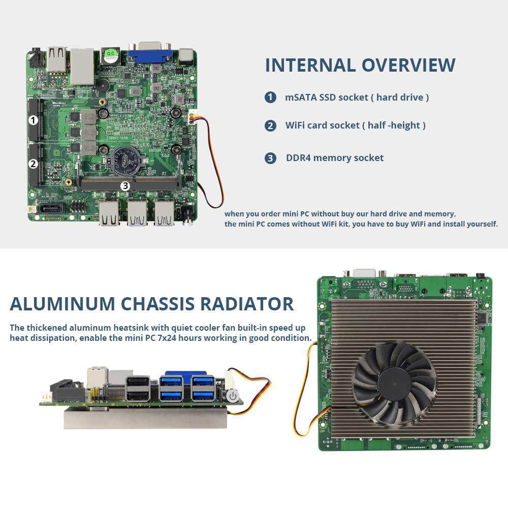 XCY Mini ordenador Intel Core i7 8550U i5 i3 Linux Windows 10 4K HTPC miniordenador ordenador de sobremesa miniordenador para juegos Micro ordenador Nuc