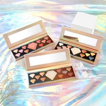 Paleta de sombras de ojos COLOR romántico, 11 colores, mate, maquillaje de ojos de larga duración, rubor, brillo, recortador, resistente al agua, TSLM2