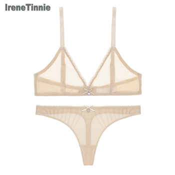 Irene Tinnie Sexy Lingerie Bra Set Women Underwear Push Up Bra Mesh Erotic Lingerie Ultra-thin Vintage Lace Lingerie Set фото