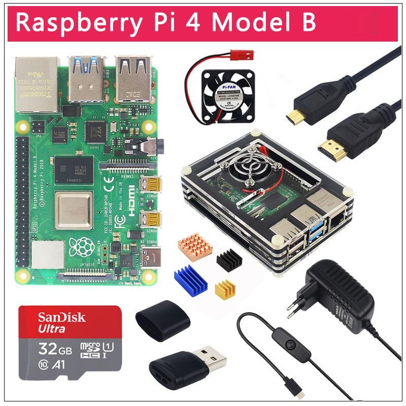 Original UK Raspberry Pi 4 Model B 1/2/4GB RAM BCM2711 Option Case|32 GB SD Card|Switch Power | Micro HDMI | 9 Layer Case | Fan
