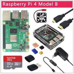 Originele Uk Raspberry Pi 4 Model B 1/2/4 Gb Ram BCM2711 Optie Case | 32 Gb sd-kaart | Switch Power | Micro Hdmi | 9 Layer Case | Fan