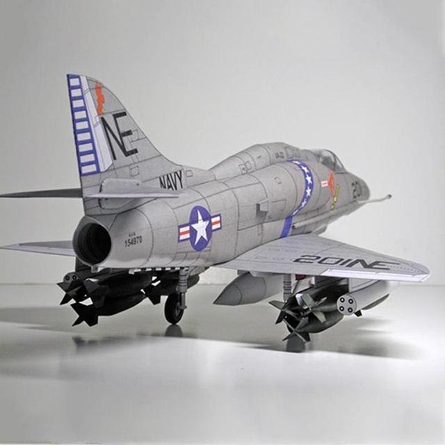 American A-4 Skyhawk Attack Aircraft Paper Model DIY Plane Paper Aircraft Model Attack R9P8 2