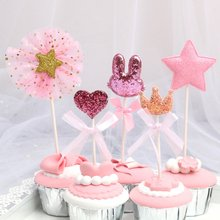 5 Stks/partij Verjaardag Cake Topper Roze Ster Hart Kroon Cupcake Decoratie Tool Baby Shower Kids Birthday Cakes Dessert Decoratie(China)