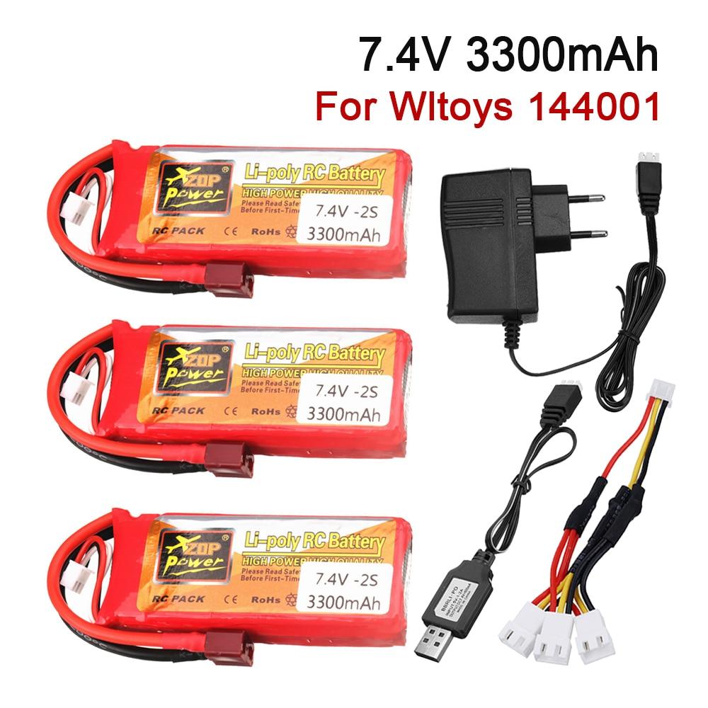 Аккумулятор 2S 7,4 В для Wltoys 144001, автомобильный гоночный автомобиль, 7,4 В, 3300 мАч, литий-полимерный аккумулятор, зарядное устройство с T-образной...