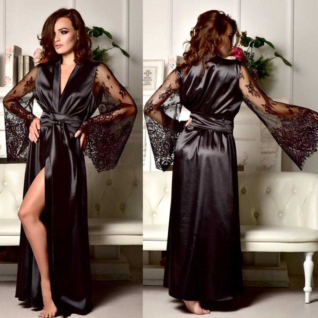 Satin Silk Lace Women Sexy Robes Lingerie Dress Floral Patchwork Long Nightdress Nightgown Sleepwear Women Clothing