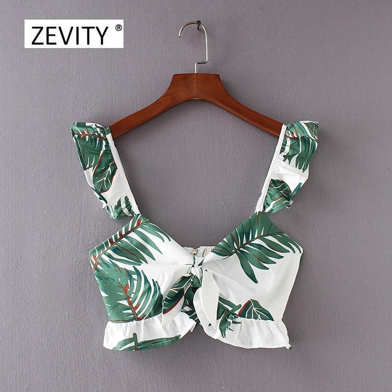 Women Vintage Holiday Wind Green Leaves Printing Bowknot Short Blouse Ruffles Back Zipper Shirts Femininas Blusas Tops LS2419