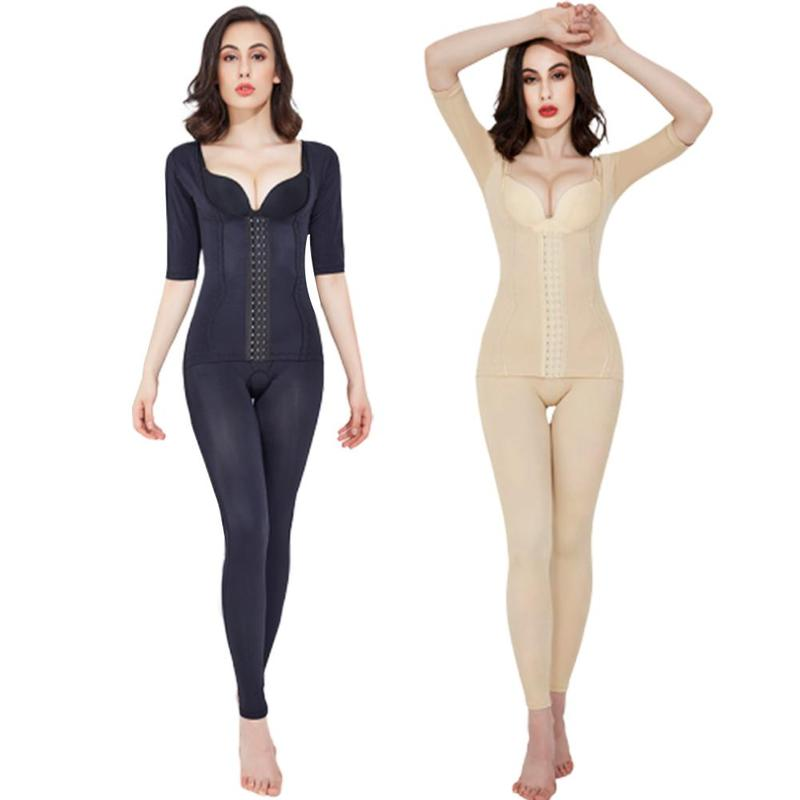 One-piece Full Body Shaper Short Sleeve Rear Pullup Bodysuit Negative Ion Postpartum Stovepipe Tummy Hip Slimming Women Clothes