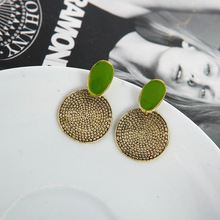 Europe and The United States Retro Green Drip Round Carved Earrings Explosion Models for Women Fashion Jewelry