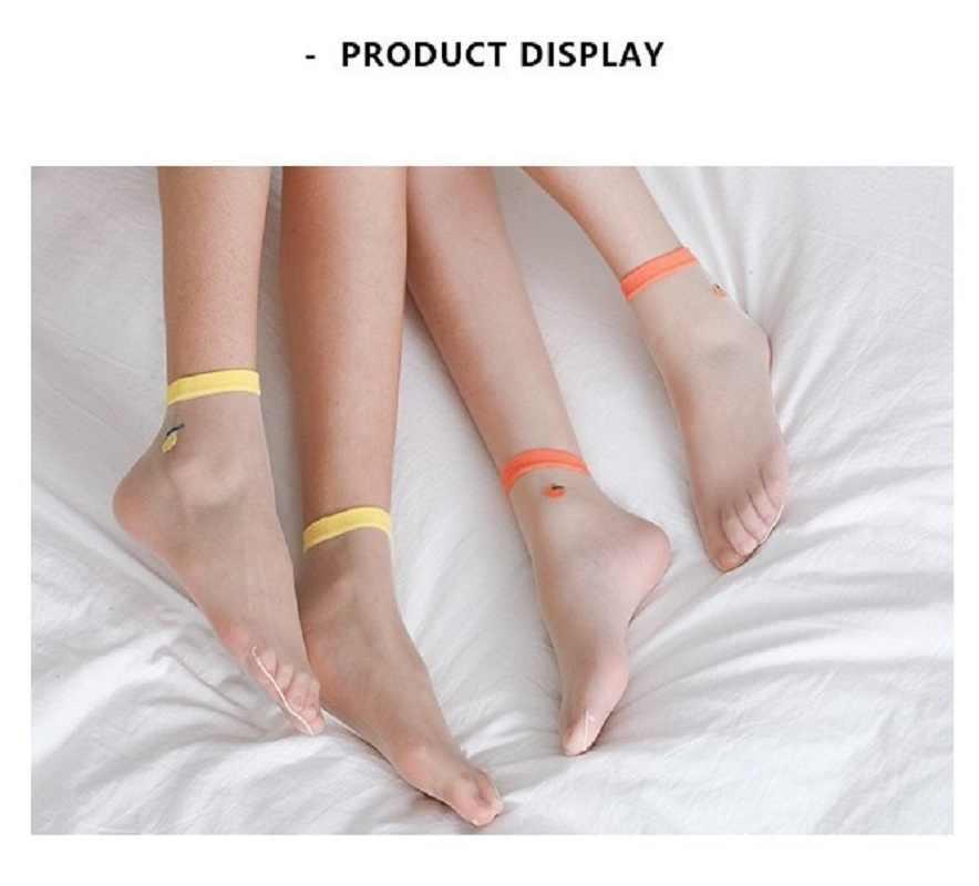 Primavera e l'estate nuova Giapponese di vetro calze delle donne di seta leggero e traspirante di frutta stile college carino carta tubo calzini