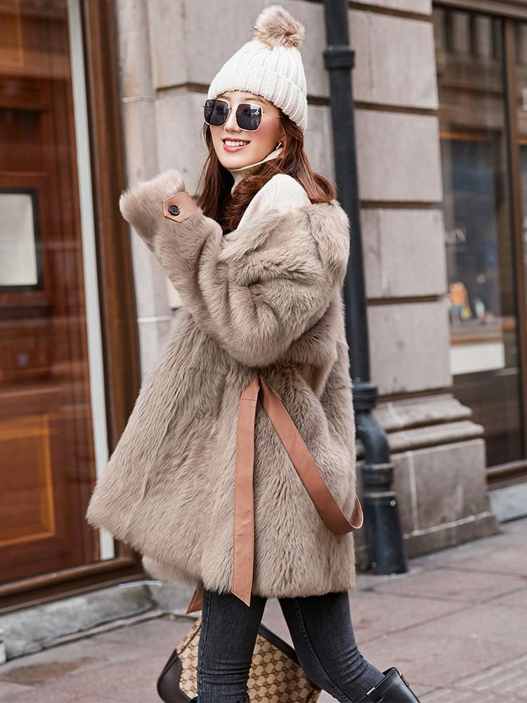 Coat Winter Women Double Faced Real Fur Coat Female Luxury Wool Fur Coats Genuine Leather Jacket Manteau Femme MY404 S