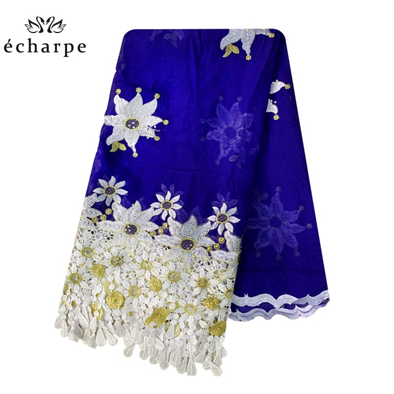 100% Cotton Scarf African Women Scarfs Big Embroidery Tassels Embroidery Luxury Scarf With Stones
