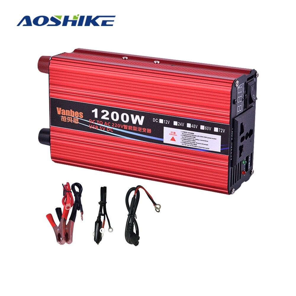 Aoshike 600w modificado inversor de energia de onda senoidal dc 12 v 24v 48v para ac 220 v voltagem transformador conversor inversor 12 v 220 v novo