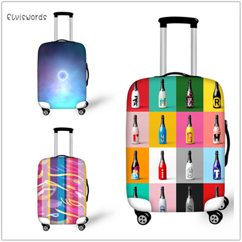 ELVISWORDS Luggage Cover Diverse Style Print Galaxy Stripe Bottle Thicker Travel Suitcase Protective Trunk Apply To 18-30 Inch