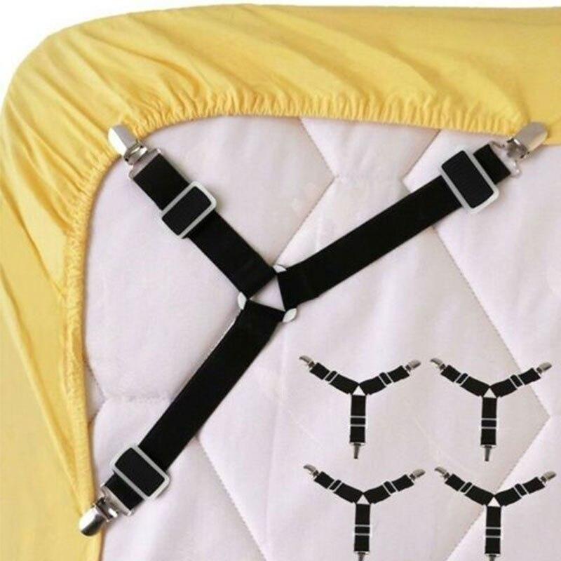 4 adet/takım yatak çarşafı Klipleri kaymaz yatak çarşafı Bağlantı Elemanları Köşe Kanca Siyah Pratik Yüksek Yatak Kelepçe Klip Fixator Tutucu