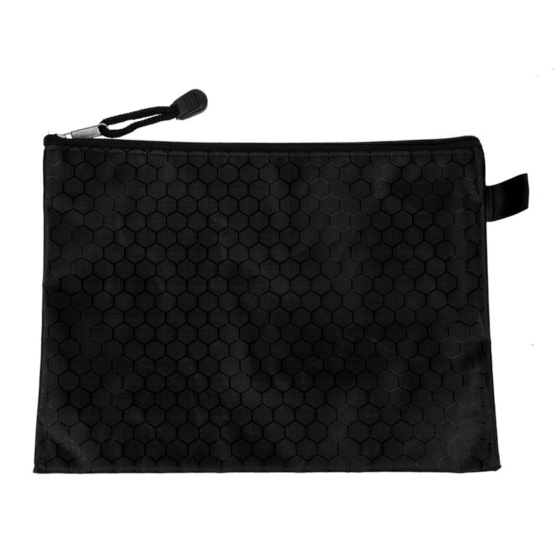 Black Nylon Sexangle Printed A5 Paper Document Files Organizer Bag