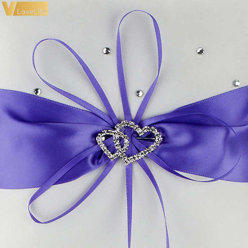 10 Cm Pernikahan Cincin Bantal Double Jantung Pita Handmade Rhinestone Ikatan Simpul Putih Merah Biru Rumah Pesta Dekorasi Persediaan