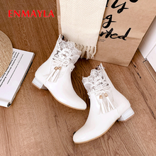 ENMAYLA PU Short Plush Solid Winter Boots Women Flower Lace Ankle Square Heel Zip Black Womens Shoes Low Round Toe White