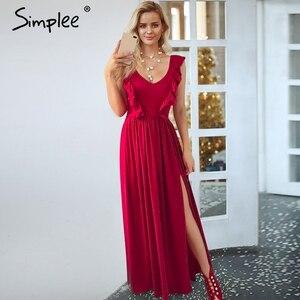 Image 2 - Simplee סקסי קפלים אדום ארוך נשים שמלת ראפלס O צוואר פיצול מקסי קיץ שמלת 2019 אלגנטי נשי מועדון vestidos דה פיאסטה