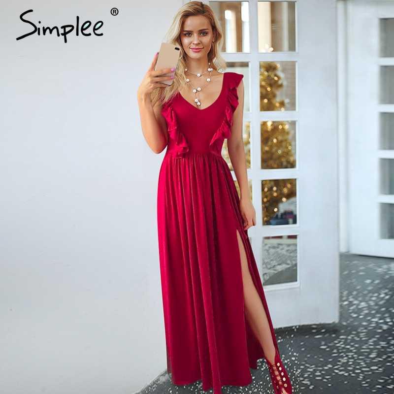 Simplee Sexy geplooide rode lange vrouwen jurk Ruches O hals split maxi zomer jurk 2019 Elegante vrouwelijke club vestidos de fiesta