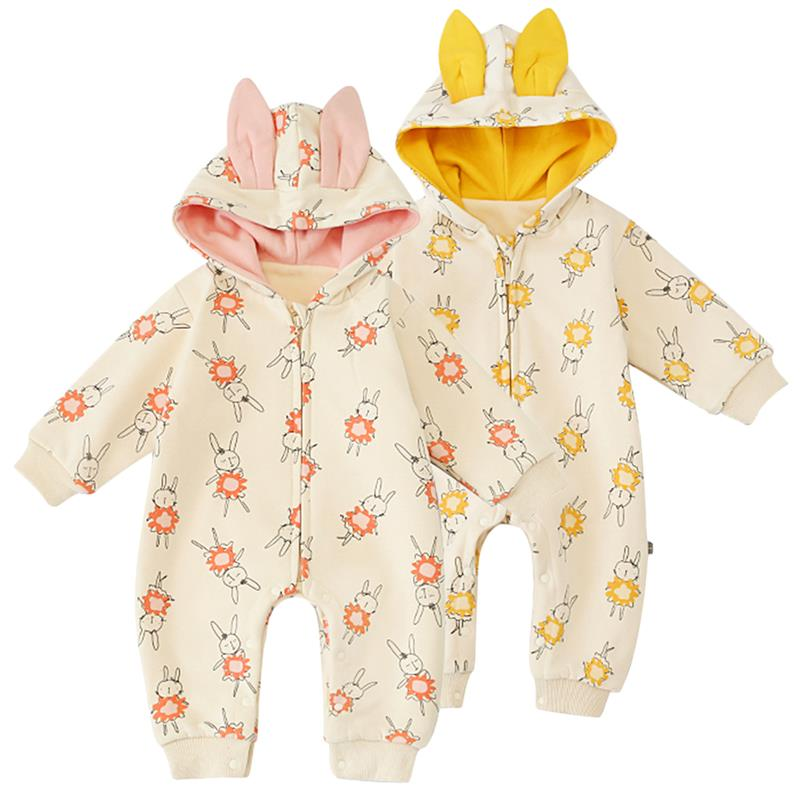 Famuka Baby Girls Clothes Pure Cotton Rabbit Printed Hooded Rompers Toddler Kids Thicken Warm Climbing Clothing Bebe Macacao|Rompers|   - title=