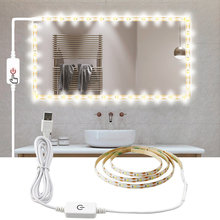 Usb 5 v maquiagem espelho vaidade led luz tira indutivo escurecimento ajustável iluminado compõem espelhos cosméticos vaidade luzes de mesa