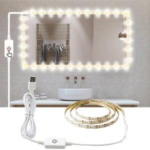 Image 1 - Usb 5 v maquiagem espelho vaidade led luz tira indutivo escurecimento ajustável iluminado compõem espelhos cosméticos vaidade luzes de mesa