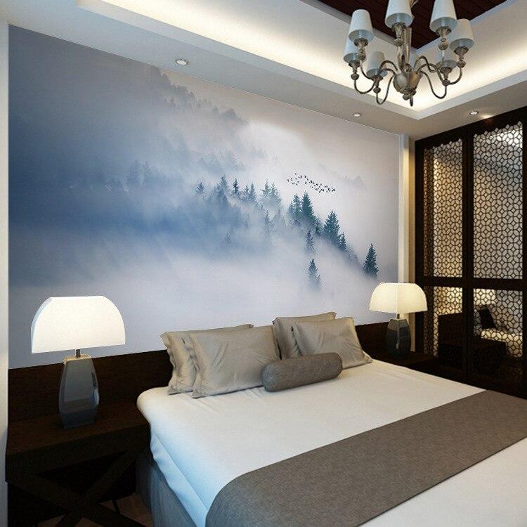 Новый китайский стиль матовые сосновые деревья облака горы телевизор диван Настенная роспись большие Настенные обои фотообои настенная