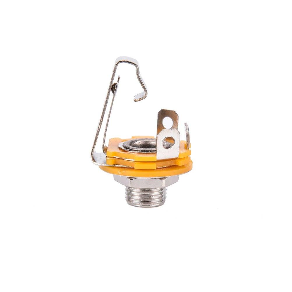 ZLinKJ 10 sztuk hurtownie nikiel 6.35mm 1/4 Cal Mono TS Panel podwozie Jack Audio kobieta złącze lutowane