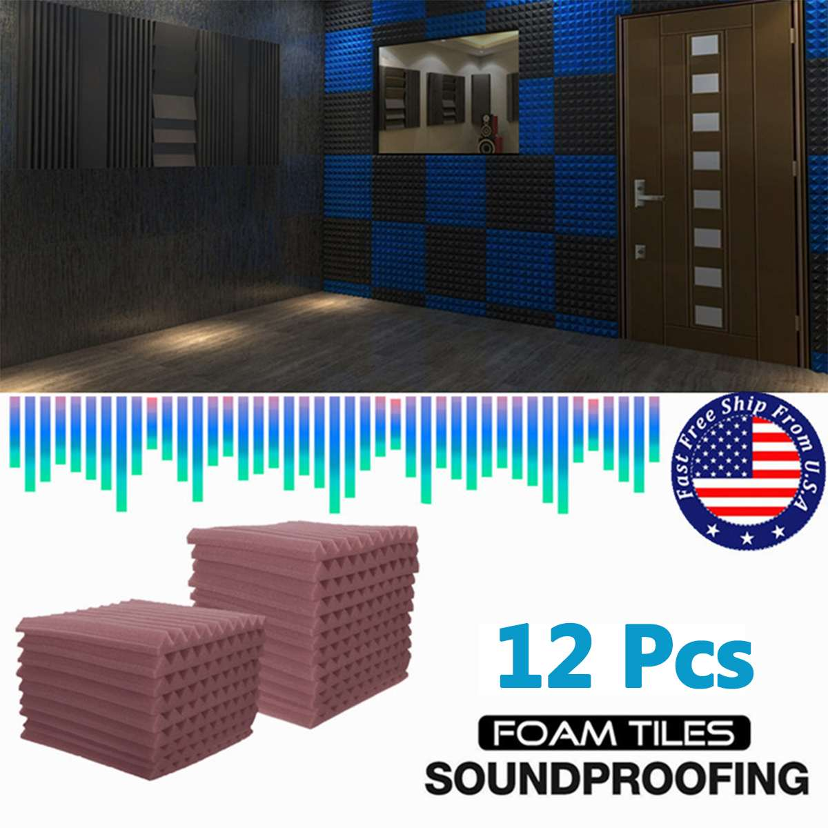 4 Color 12 Pcs Soundproofing Foam Acoustic Foam Sound Treatment Room Studio KTV Windows Sealing Strips Absorption Foam
