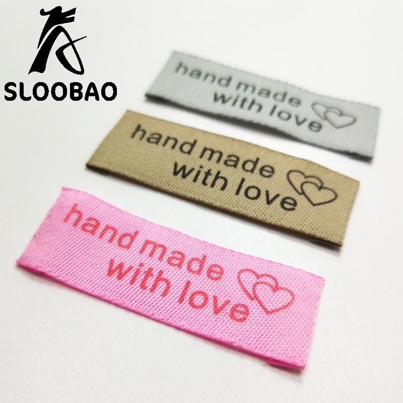 50//100St Handmade with Love Etiketten Waschbar Tuch DIY Colthing Tag Nähen Dekor