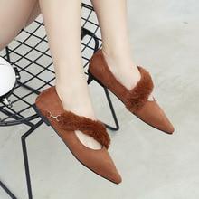 Autumn New Womens Flat Shoes Temperament Pointed Single Fashion Plush Decorative Casual