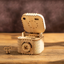 Robotime DIY Password Treasure Box Wooden Organizer Jewelry Container Home Room Decor for Easter Gift LK502
