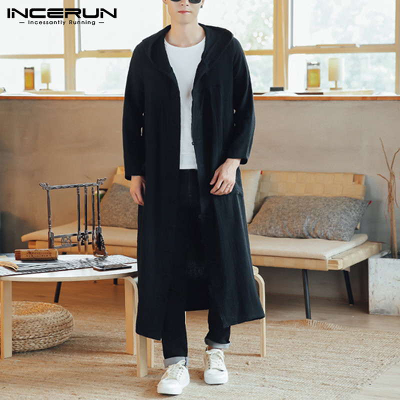 INCERUN Autumn Fashion Men Casual Solid Long Sleeve Hooded Long Trench Jackets Retro Buckle Couple Outerwear Dress Hoodies 5XL