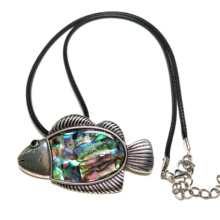 2019 New Shell Pendants Necklace Charms Jewelry Fish Shape Natural Leather Chain for Women Men 50x40mm