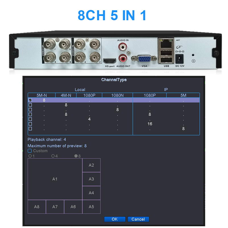 Smar 8CH 16CH 5M-N 5 in 1 Hybrid DVR Video Recorder for AHD Camera Analog Camera 5MP IP Camera P2P NVR CCTV System H.265 New