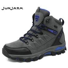 JUNJARM Hot Sale Winter Boots Men Shoes Waterproof Outdoor Snow Boots Fur Warm Casual Men Shoes Non Slip Men Sneakers