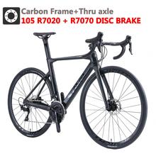 SAVA Carbon road rowerowy hamulec tarczowy z włókna węglowego rower szosowy wyścigowy z SHIMANO 105 R7020 + R7070 hydrauliczny hamulec tarczowy rower węglowy tanie tanio Mężczyzna 21 prędkości 8 5 kg 150 kg 10 kg Nie Amortyzacja Podwójne hamulce tarczowe 160-185 cm 1 33 0 1 m3 Zwyczajne pedału