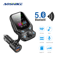 fm משדר AOSHIKE Bluetooth Car Kit דיבורית FM משדר אלחוטי נגן MP3 AUX אודיו המקלט עם 2 יציאות USB 3.0 QC Quick Charge (1)