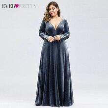 Большие размеры, велюровые Выпускные платья Ever Pretty, глубокий v-образный вырез, а-силуэт, с длинным рукавом, сексуальные кружевные сзади, вечерние платья, Vestidos de gala