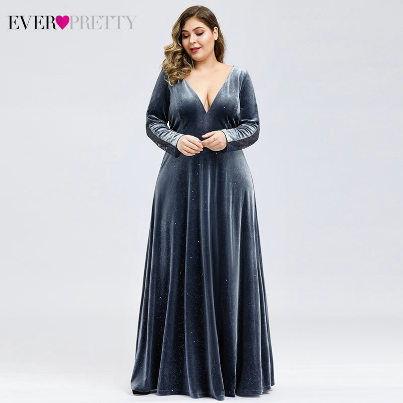 Plus Size Velour   Prom     Dresses   Ever Pretty Deep V-Neck A-Line Long Sleeve Sexy Lace Back Formal Party Gowns Vestidos De Gala
